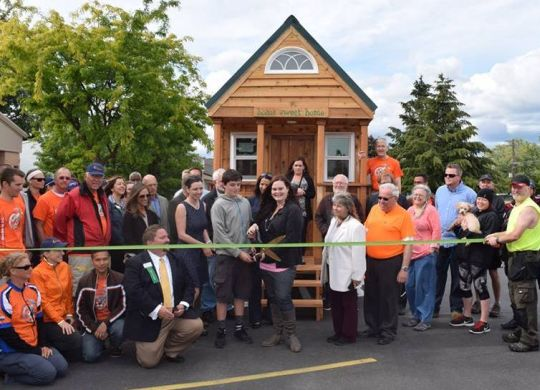 Bicycle Adventure's first build day of summer ride includes tiny house ribbon-cutting