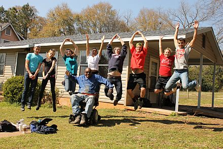 Thad Harris, with a group of U.S. Builders from The Ohio State University.