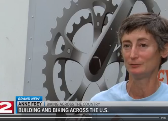 WKTV-TV reports on Bicycle Adventure's stop in Herkimer, New York