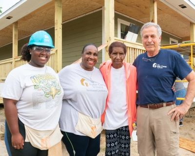 From left: Maya and Renee Hooks with homeowner partner Dorothy Thomas and Disaster ReBuilders Director Bart Tucker at the Brenda Barton Memorial Build.