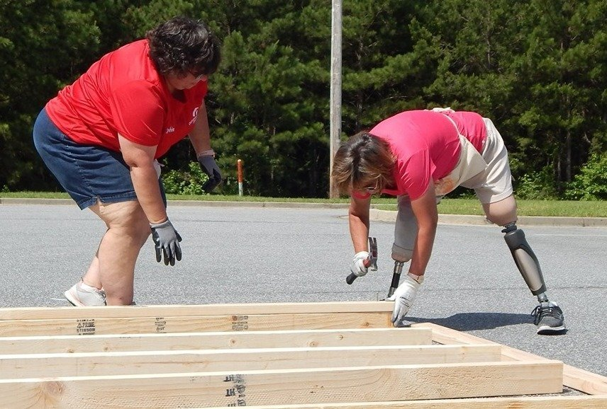 Kim Roberts (right) and Robin Pierre led our tornado recovery work in Alabama.